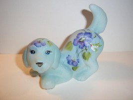 Fenton Glass Hummingbird Blue with Purple Flowers Puppy Dog #5/9 GSE M K... - $174.12