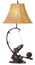 Fly Rod Trout Fish Table Lamp Fishing Rustic Cabin Lake Lodge Decor - $127.90