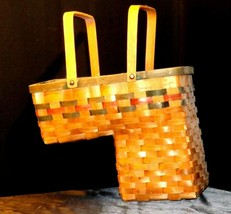 Double Handled Swing Basket Handmade AA19-1577 Vintage image 2