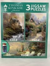 Thomas Kinkade Studio Jigsaw Puzzles with Glue Cottage Lighthouse Stone House - $46.44