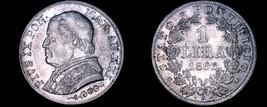 1866-XXIR Italian States Papal States 1 Lira World Silver Coin - Pius IX - $59.99