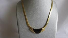 Vintage Marvella Choker / Necklace, Removable Enameled & Rhinestone Cent... - $10.99