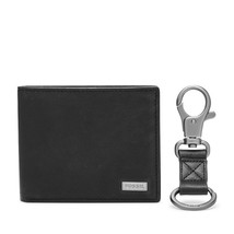 fossil man genuine Leather wallet Kane Flip ID Bifold and Keyfob Set - $42.00