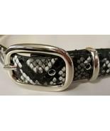 """Medium 34"""" Black Designer Macy's Steve Madden Skinny Belt Snake Print Logo - $17.77"""