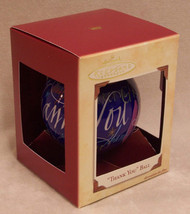 HALLMARK GLASS ORNAMENT THANKS IN 9 LANGUAGES BLUE 2002 New - $9.89