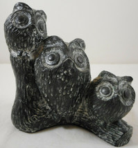 "Vintage Nuvuk Owl Carved Soap Stone Family 4 3/4"" Figurine - $19.79"