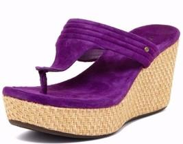 Ugg Australia Zamora Sandals Wedge Purple Suede Leather Size 7.5 *Nib* - $66.49