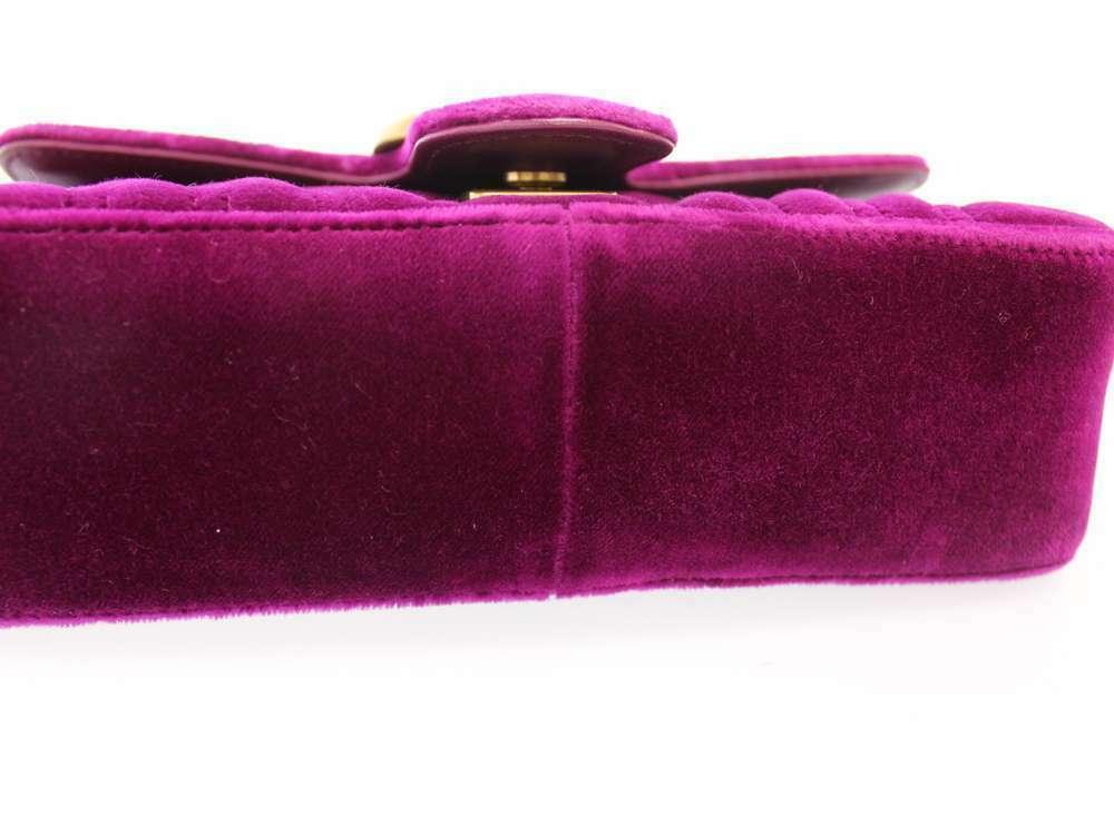 GUCCI Chain Shoulder Bag GG Marmont Velvet Purple 446744 Italy Authentic 5453436