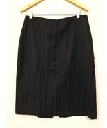 BANANA REPUBLIC Womens 12 Pinstripe Wool Pencil Skirt Black - $19.79