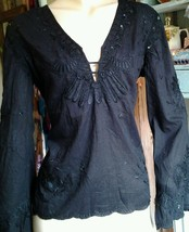 GORGEOUS bLACK steampunk goth victorian hippy embroidered top. SIZE12 - $34.39