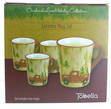 Cardinal Lane Holiday Collection Ceramic Mug Set (4) 20oz Mugs - $35.28