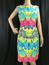 Muse Dress 12 Large Bright Pastel Floral Textured Cotton Lined Sheath Pa... - $18.37