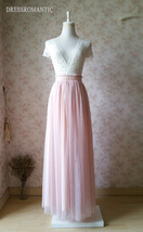 BLUSH PINK Maxi Tulle Skirt Elastic High Waist Blush Full Maxi Long Tulle Skirt  image 2