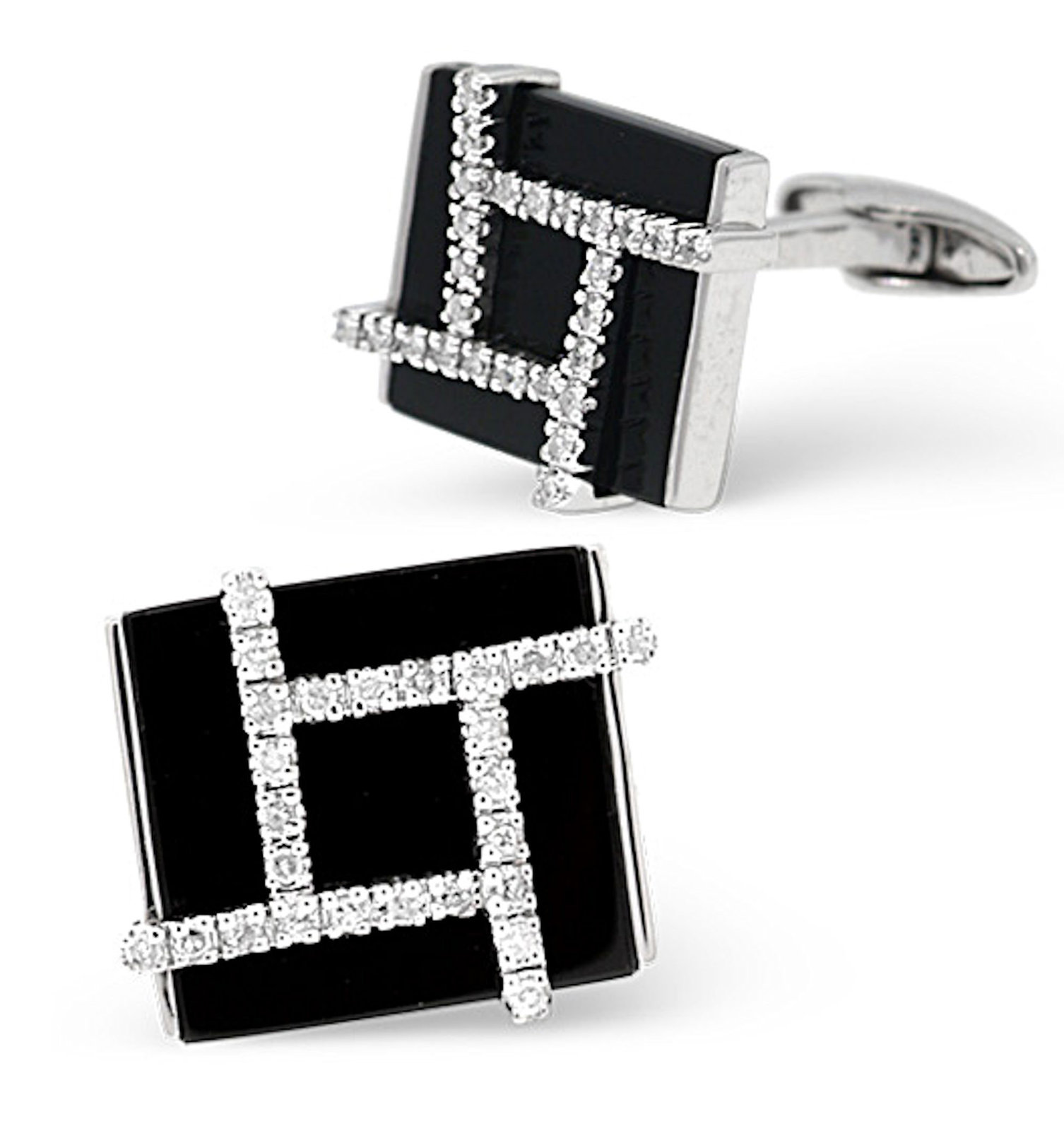 9K White Gold with real Diamonds Cufflinks boxed all cuff links supplied boxed