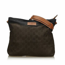 Pre-Loved Gucci Brown Dark Nylon Fabric GG Crossbody Bag Italy - $461.89