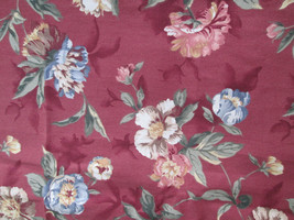 """Burgundy Floral Fabric 1.25 Yards, Drapery Weight Cotton 56"""" Wide, No Selvedge - $16.71"""
