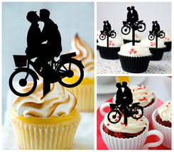Wedding,Birthday,Cupcake topper,silhouette Gay Marriage-Bicycle With Kiss 10 pcs - $10.00