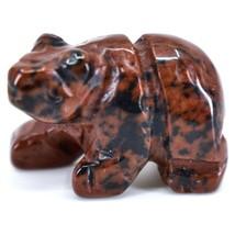 Mahogany Obsidian Gemstone Tiny Miniature Bear Figurine Hand Carved China image 2