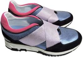 LANVIN  BLUE METALLIC SNEAKER ELASTIC STRAPS 37 Shoes New - $289.91