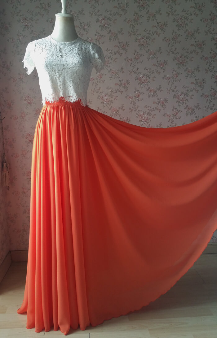 Chiffon skirt maxi orange 2