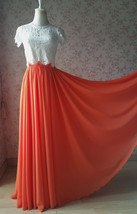 Plus Size Maxi Chiffon Skirt A-Line Chiffon Wedding Skirt Orange image 1