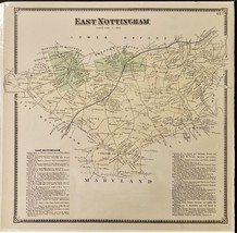 1873 EAST NOTTINGHAM PA MAP from chester county atlas a r witmer pennsyl... - $47.50