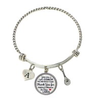 Custom Tennis Coach Thank You Gift Wire Bracelet Jewelry Choose Initial - $15.99