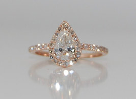 2.50 CTW Pear-Halo Diamond Solid 925 Silver Rose Gold Engagement Wedding... - $79.99