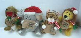 Four Kurt S. Adler Plush Ornaments Singing Christmas Animals Squeeze Tummy - $20.41