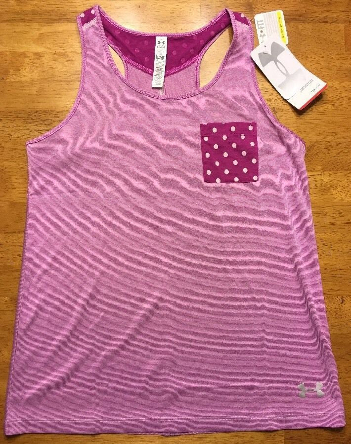 NWT Under Armour Girl's Purple Striped Heatgear Loose Tank Top - Size: Large