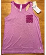 NWT Under Armour Girl's Purple Striped Heatgear Loose Tank Top - Size: L... - $19.79