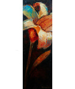 Cosmic Lily by Kanayo Ede. 16in x 48in original oil on canvas painting - $295.00+