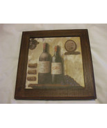 Shabby Chic Wine Bottles And Grapes Wooden Wall Hanging Picture Frame 7.... - $6.88