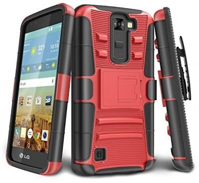 Primary image for  LG K7 Case, LG Tribute 5 Case, TILL [Holster Clip] [Counter-Red] Shock Locking