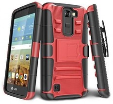 LG K7 Case, LG Tribute 5 Case, TILL [Holster Clip] [Counter-Red] Shock ... - $16.75