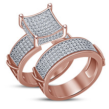Bridal Engagement Ring Set Round Cut White CZ 14k Rose Gold Plated 925 Silver - $74.81