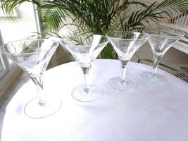 Set of 4 Glastonbury Lotus Clear Cut Trumpet Liquor Cocktail Glasses - $23.76