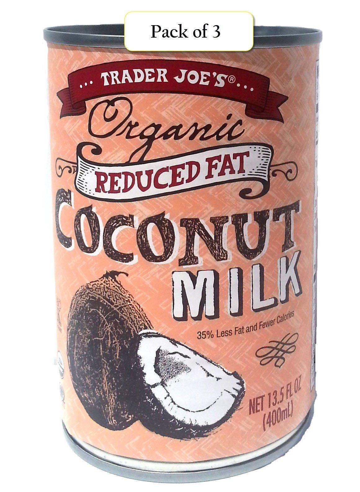 Trader Joe's Organic Coconut Milk, Reduced Fat, 13.5oz / 400 ml (Pack of 3) - Coconut Water