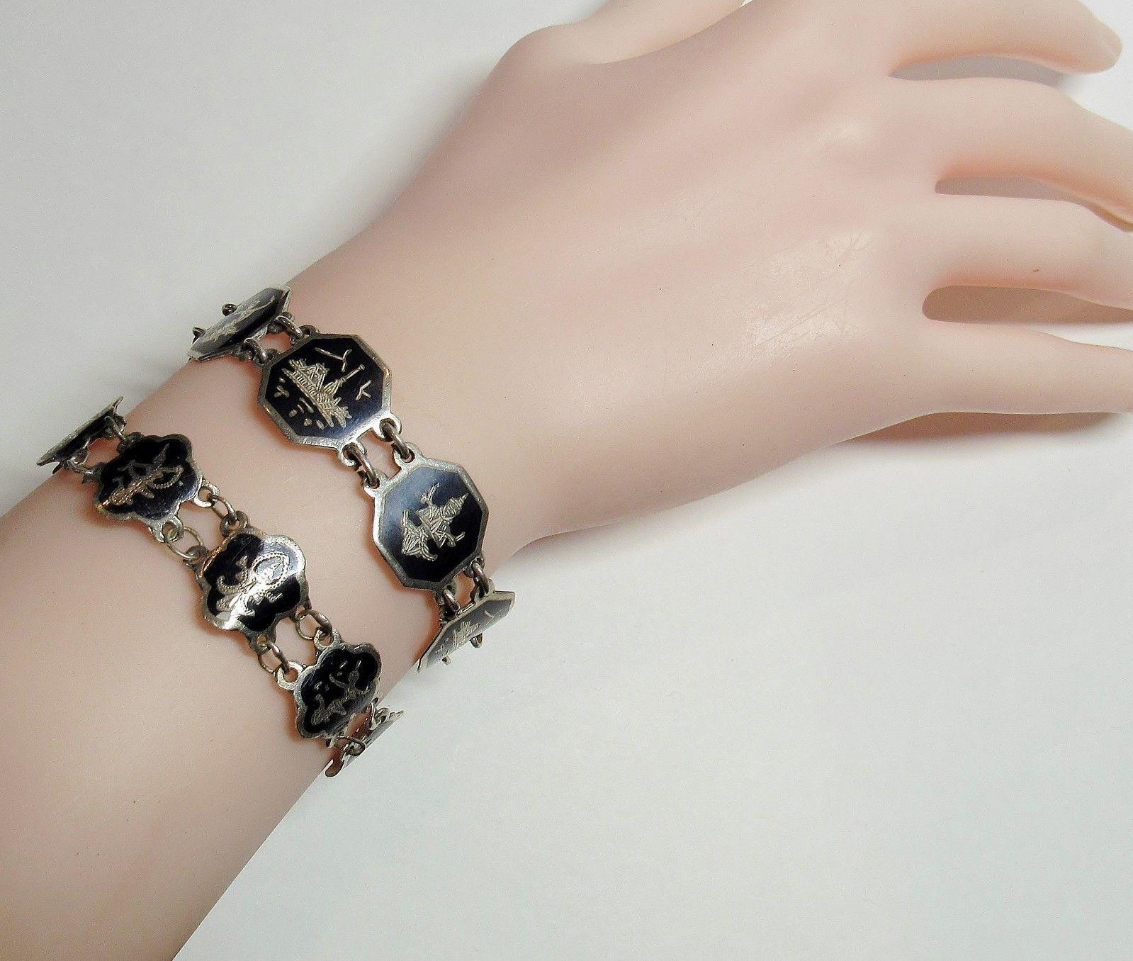2 PC Lot Vintage Sterling Silver SIAM Black Enamel NIELLOWARE Bracelet 22+ Grams