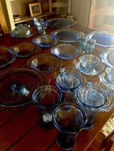RARE Periwinkle Blue Depression Madrid Purple Federal Glass Square Plate... - $238.03