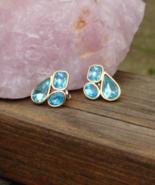 Vintage Trifari TM Blue Rhinestone Crystal Nugget Cluster Post Earrings,... - $50.00