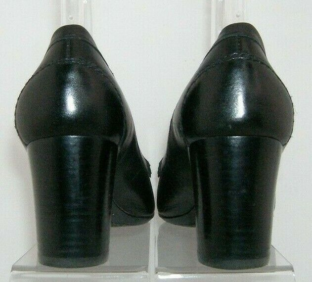 Franco Sarto 'Nation' black leather round toe slip on loafer stacked heels 8M image 4
