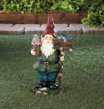 "SOLAR BLUEBIRD GNOME Welcome Garden Statue 15"" Outdoor Decor - $29.95"