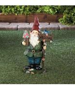 """SOLAR BLUEBIRD GNOME Welcome Garden Statue 15"""" Outdoor Decor - $29.95"""