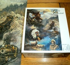 Jigsaw Puzzle 750 Pcs Eagle Wagon Train Indian Tepees Ted Blaylock Art Complete - $16.82