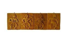 4 piece Indian handmade wall hanging art vintage rich look desing dcor set - $35.64