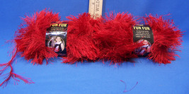 2 New Skeins Lion Brand Fun Fur Bulky Polyester Yarn Bright Red Long Fringe - $15.83