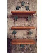 Home Interiors Shelf Ivy Leaf Green Metal & Wood 3 Tier 88260 Homco  - $49.99