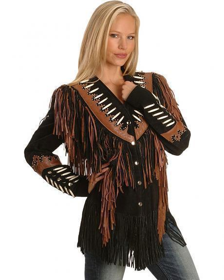 QASTAN WOMEN'S NEW BLACK FRINGED / BONE / BEADS SUEDE LEATHER JACKET WWJ24