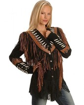 QASTAN WOMEN'S NEW BLACK FRINGED / BONE / BEADS SUEDE LEATHER JACKET WWJ24 image 1